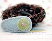 Cute as a Button Wool Felt Hair Clip Light Blue