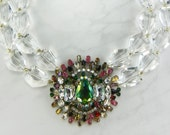 Faceted Clear Crystal Nugget Statement Necklace with Vintage Bijoux MG Brooch