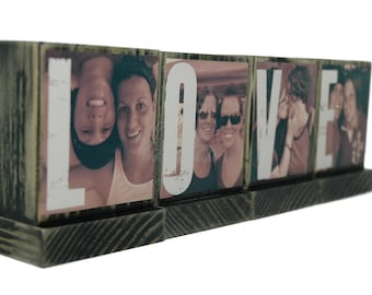 PERSONALIZED PHOTO BLOCKS Gifts To Spell Out Love-Great Christmas Gifts-Great Wedding Gifts-Lasting Memories - Custom Photo Displays-