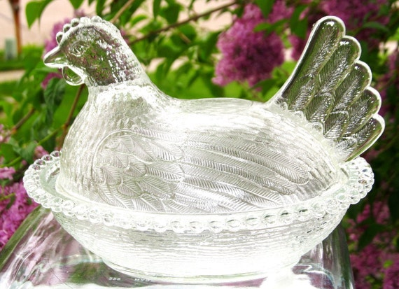 Vintage Glass Hen Dish with Lid