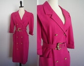 Vintage 1980s Bright Hot Pink Magenta Double Breasted Suit Dress with Gold Knotted Buttons and Belt