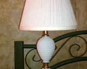 Vintage Hobnail  Milk Glass Lamp