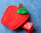 Apple Hair Clip - 100% Wool Felt, Grosgrain Ribbon, Alligator Clip - No Slip clip - School, Autumn