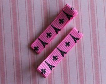 Eiffel Tower Hair Clips- Paris, France - Party Favors -Fancy Nancy, Pink Poodle in Paris - No Slip Clips-Choice of Color
