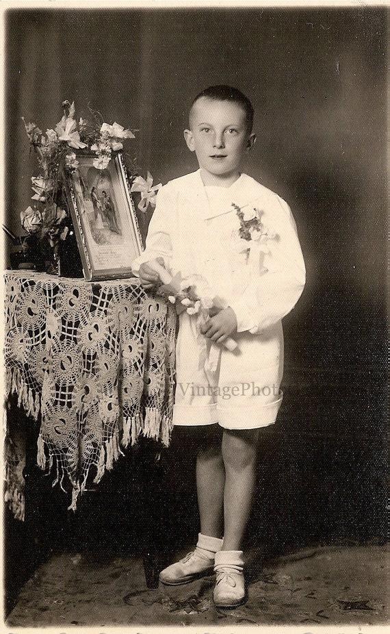 VINTAGE PHOTO, RPPC Poland, Boy Portrait 1952, Confirmation Orig B&W