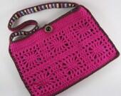 Motif Purse, Haut Pink Sunburst (crochet bag, lined with internal pockets)
