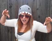 Shark Hat (crochet animal hat with ear flaps)