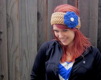 Flower Headband, Gold & Blue (crochet ear warmer with big flower)