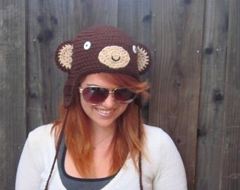 Monkey Hat (crochet animal hat with ear flaps)