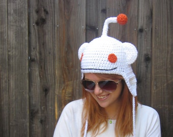 Reddit alien hat (crochet geeky meme ear flap hat)