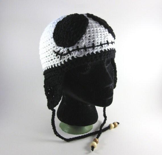 Jack Skellington-inspired Skeleton Hat (crochet character hat with ear flaps)