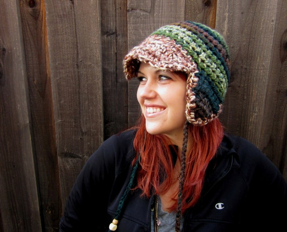 Aviator Hat, Camo Camouflage with Brown/Tan Brim (crochet ear-flap hat)