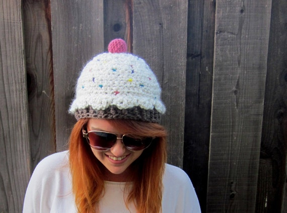 Cupcake Hat, White Frosting (crochet funny beanie)