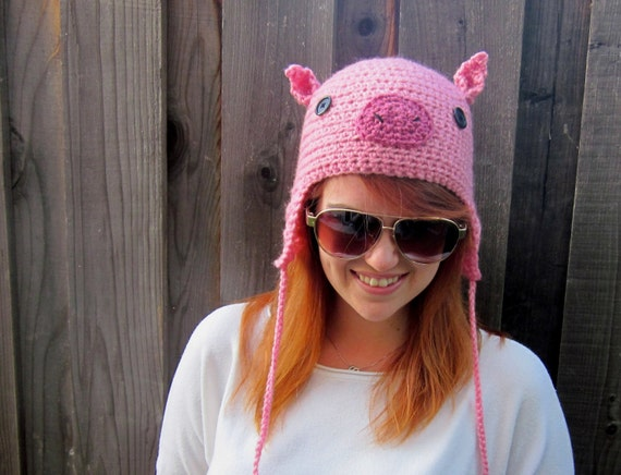 Pig Hat (crochet pink animal hat with ear flaps)