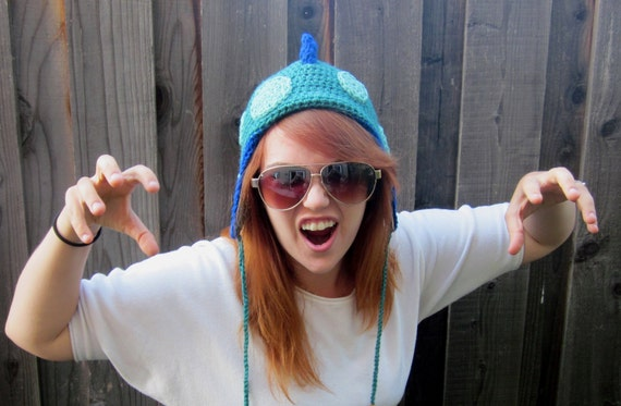 Dinosaur Hat in Blue, Teal & Green (crochet reptile beanie with ear flaps)