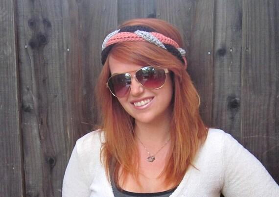 Braid Headband in Peach, Silver & Brown (crochet Neapolitan ear warmer)