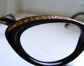 SALE Black 1950s EyeGlasses Frames with Rhinestones NOS