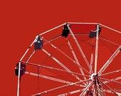 "12"" x 8"" Red Ferris Wheel Print, Circus Ride, Amusement Park Fun, Attraction, Children's Decor, Fine Art Photography by Glennis Siverson"