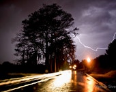 """12"""" x 8"""" Lightning Over Adair, Night, Street Lights, Stormy Weather, Fine Art Photography by Glennis Siverson"""