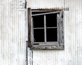 "8"" x 12"" Aqua, White, Gray, Window, Weathered Wood, Old Abandoned Building, Fine Art Photography Print by Glennis Siverson"