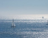 """Large 20"""" x 10"""" Sail Boats on the Pacific Ocean, Seascape, Nature, Blue Sea, Fine Art Photography by Glennis Siverson"""
