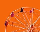 "12"" x 8"" Orange Ferris Wheel, Amusement Park, Circus, Ride, Fun for Kids, Fine Art Print, Photography by Glennis Siverson"