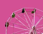 "12"" x 8"" Pink Ferris Wheel, Amusement Park, Circus, Ride, Fun for Kids, Fine Art Print, Photography by Glennis Siverson"