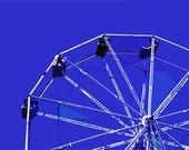 "12"" x 8"" Royal Blue Ferris Wheel, Amusement Park, Circus, Ride, Fun for Kids, Fine Art Print, Photography by Glennis Siverson"