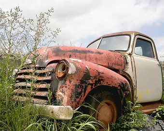 "Tired: 12"" x 8"" Print, Old Pick-up Truck, Rusted, Wreck, Abandoned, Fine Art Photography by Glennis Siverson"