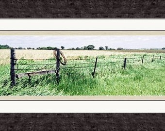"Large 27.75"" x 14.50"" Professionally Framed Barbwire Fence in Rural South Dakota, Panoramic, Great Plains, Photography by Glennis Siverson"