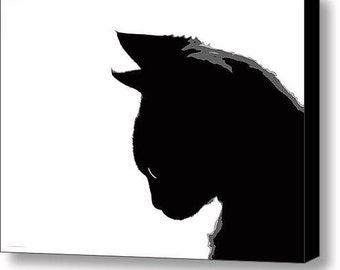 """12"""" x 8.75"""" Canvas Wall Art, Mitzi Kitty in Black and White, Fine Art Photography by Glennis Siverson"""