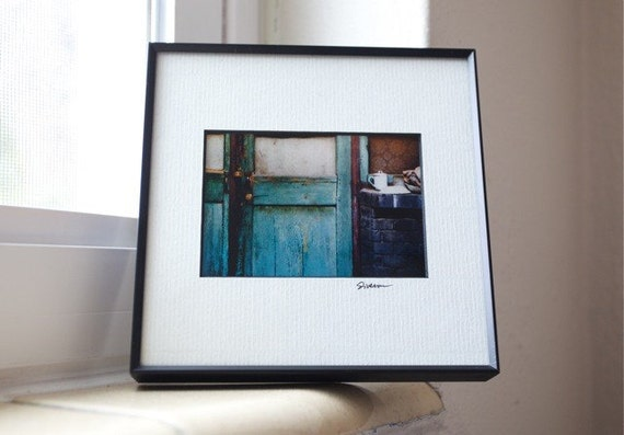 Framed and Matted Rustic Door Print, Fine Art Photography, Aqua Blue, Weathered, Cup and Saucer, China, Signed by Glennis Siverson