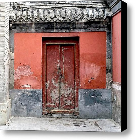 """12"""" x 12"""" Canvas Wall Art, Rustic Red Door in Beijing, China, Peeling Paint, Fine Art Travel Photography by Glennis Siverson"""