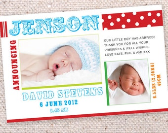 Brights Baby announcement cards. Printable.