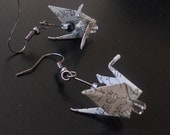 Origami Earrings - Japanese Origami Cranes (upcycled japanese newspaper)