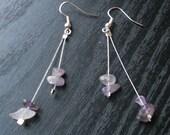 winter earrings with amethyst gemstones