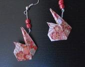 Origami Earrings - Kawai Easter Bunnies (pink)