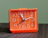 60s 70s Westclox Dialite Bright Orange Alarm Clock Mod Retro