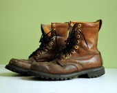 60s work boots distressed brown leather insulated Goodyear welt new Vibram soles 9E