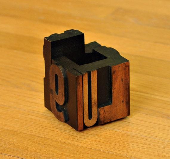 Wood Typography Blocks Letterpress Pencil Holder