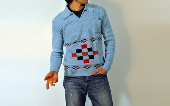 50s 60s Sweater Pullover Gama Creations Long Sleeve Knit Powder Sky Baby Blue Small Medium