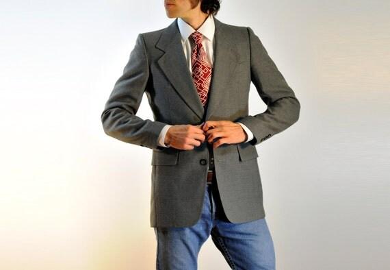 mens suit jacket 70s sportcoat Pierre Cardin blazer charcoal gray wide lapel slimfit 38R 40R Lucky 7