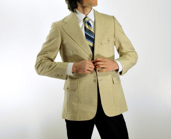 mens suit blazer, linen sportcoat, hunting safari jacket, belted back, bone cream white, 38R 40R Lucky 7