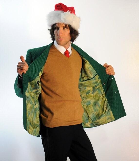 60s Mens Christmas Blazer Bright Green Houndstooth Tweed