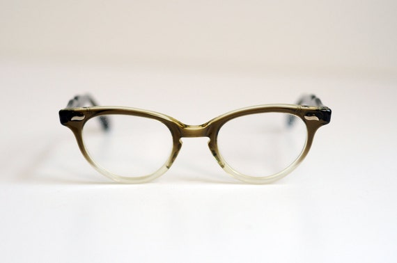 50s Cat Eye Glasses Frames Imperial Brown Clear Fade