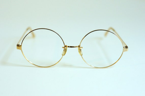 60s 80s round glasses 12k gold filled metal big thin wire frame sro styl rite