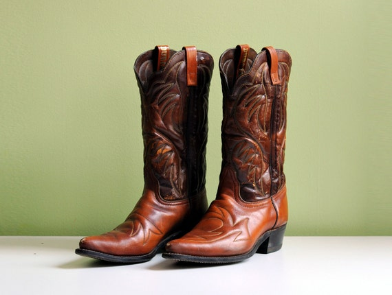 Durango Cowboy Boots Brown Camel Leather Two-Tone Distressed Mens 10 Lucky 7