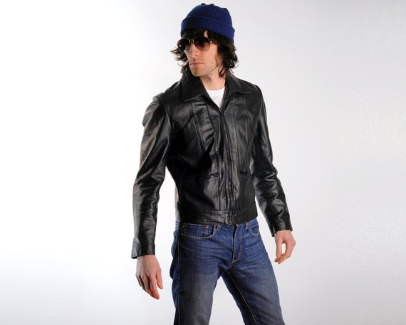 black leather motorcycle jacket, 70s, lightweight