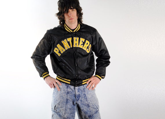 satin bomber jacket, black and gold, Panthers, 80s athletics, Lucky 7
