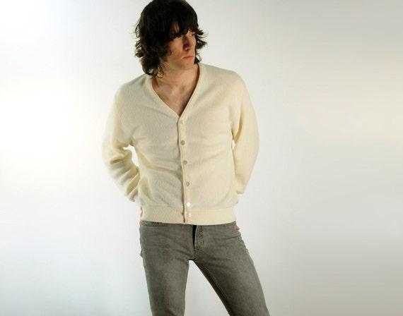 cream white cardigan, Arnold Palmer umbrella buttons, spring sweater